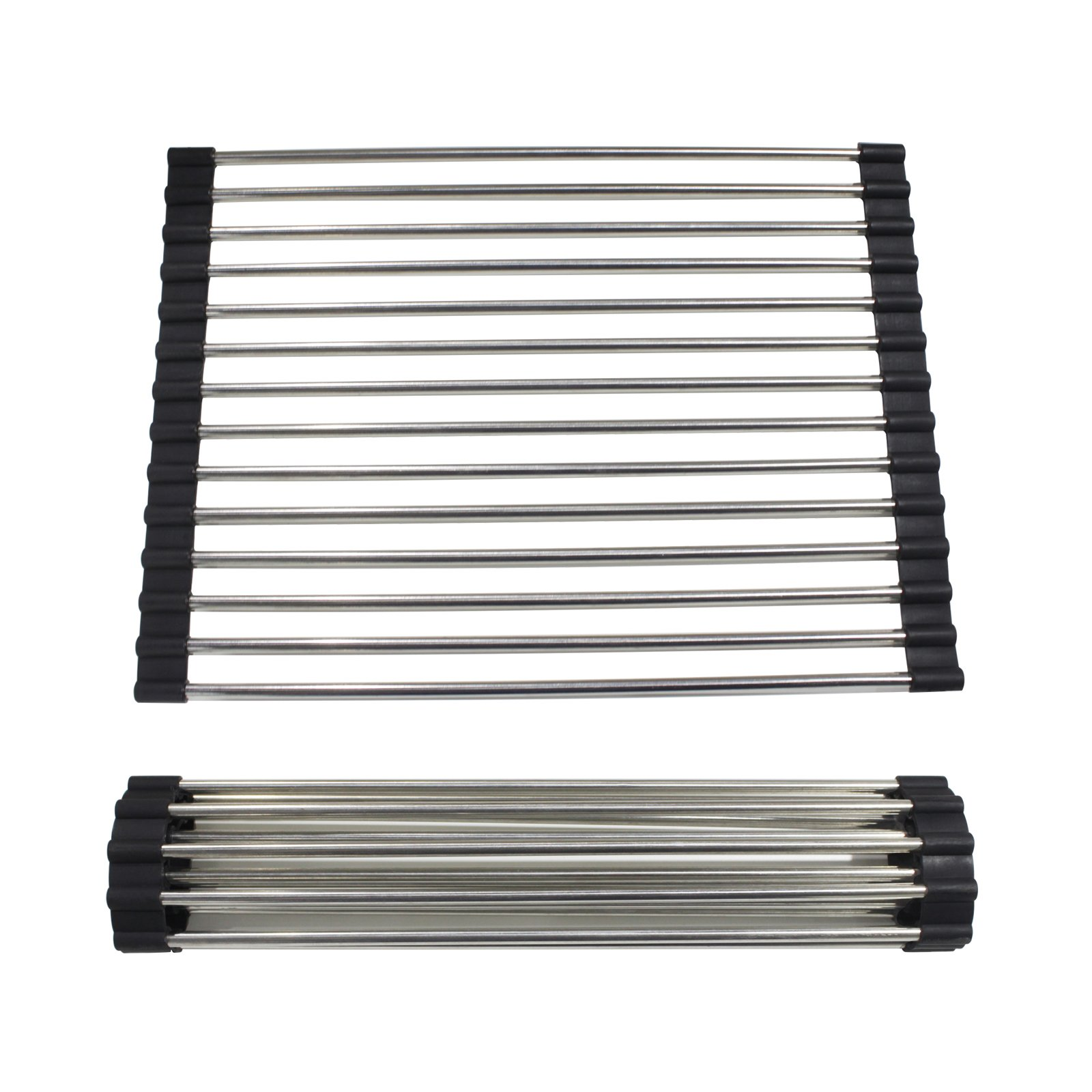 Gobrico 304# Stainless Steel Black Over-the-Sink Rollable Dish Drying Rack/Multi-purpose/Heavy Duty/12.6In-Long 2Pack