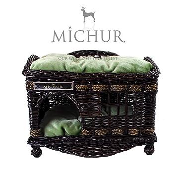 MICHUR TOM DARK, Cama del perro, cama del gato, cesta del gato, cesta del perro, sauce, cueva, mimbre, marrón: Amazon.es: Hogar