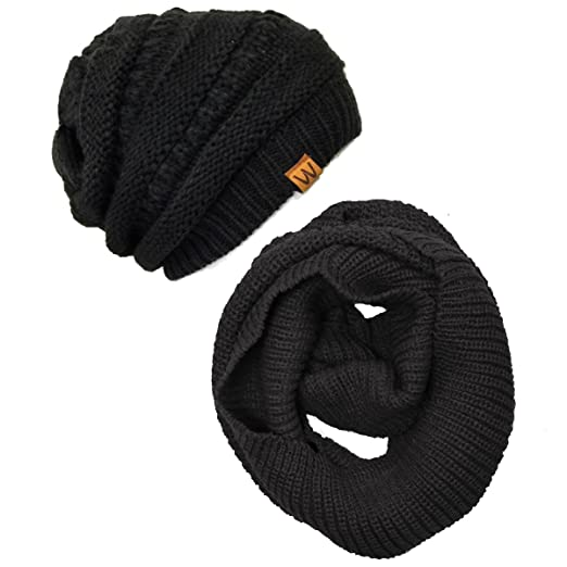 0bd72bbf7 Wrapables Women's Plaid Print Infinity Scarf and Beanie Hat Set