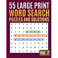 55 Large Print Word Search Puzzles And Solutions: Activity Book for Adults and kids Full Page Seek and Circle Word Searches to Challenge Your Brain (Find a Word for Adults & Seniors)
