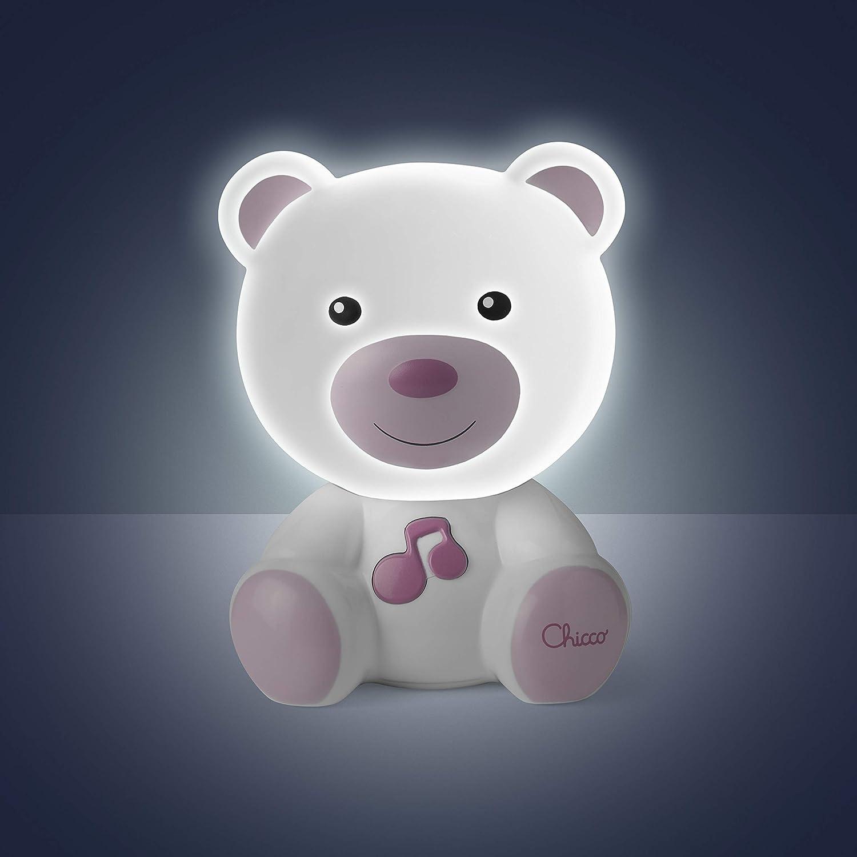 con luces y sonidos dise/ño oso rosa L/ámpara quita miedos anti oscuridad Chicco Lamparita Dulces Sue/ños