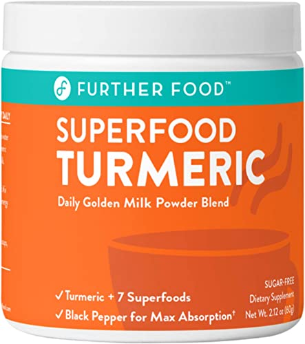 Further Food Superfood Turmeric Golden Milk Boosted with 7 Superfoods Adaptogens Plant-Based, Sugar-Free, Non-GMO 30 Servings
