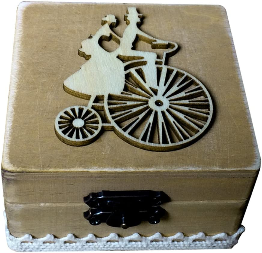 TOPBATHY Caja de Madera de Anillos de Novios Cajas de Madera para Decorar para Fiesta Ceremonia de Boda Vintage Caja de Joyería con Patron de Pareja Ciclismo: Amazon.es: Hogar