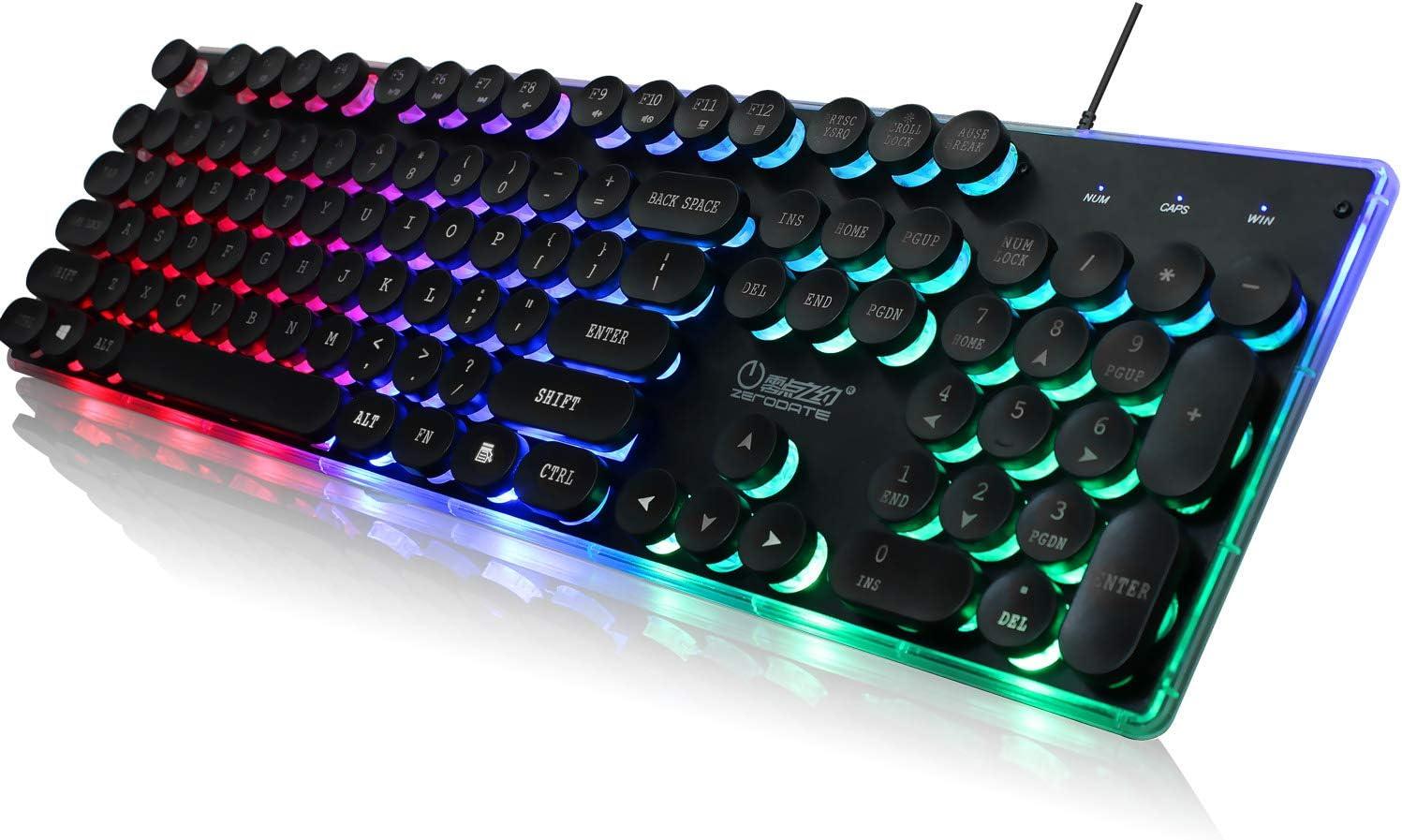 KB202 Steampunk Gaming Keyboard Wired LED Backlit Keyboard with Round Keycaps Retro Typewriter Circle Keyboard(104 Keys,Black)