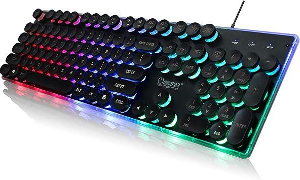 ZERODATE KB202 Teclado USB retroiluminado, Colorido, Estilo ...