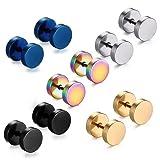Feramox Stainless Steel Mens Womens Stud Earrings Set Ear Piercing Plugs Tunnel Punk Style