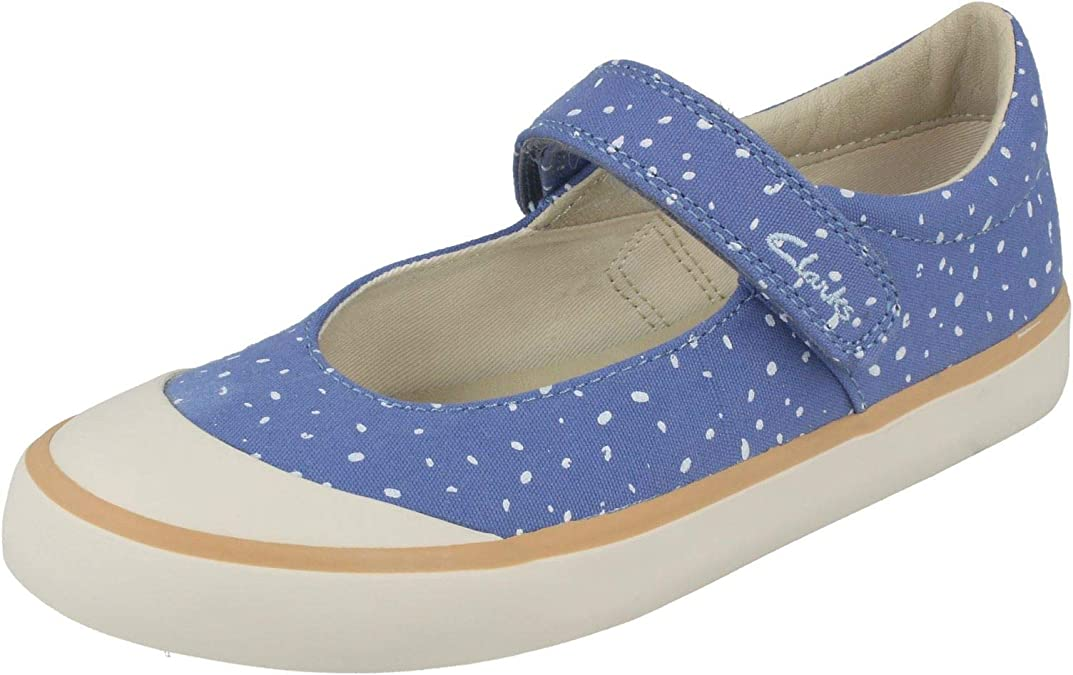 GIRLS INFANTS CLARKS BRILL GEM SUMMER CANVAS SHOES HOOK /& LOOP MARY JANE CASUAL