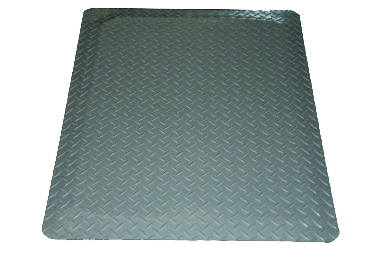 Rhino Mats DTT2496GRNS Diamond Plate Anti-Fatigue Mat with Rh-No-Slip, 2' Width x 8' Length x 9/16'' Thickness, Gray