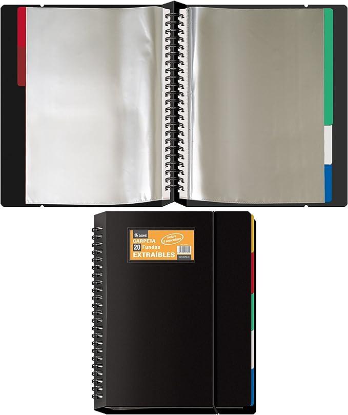 Dohe 91364 - Carpeta de 20 fundas, extraíble, color negro: Amazon.es: Oficina y papelería