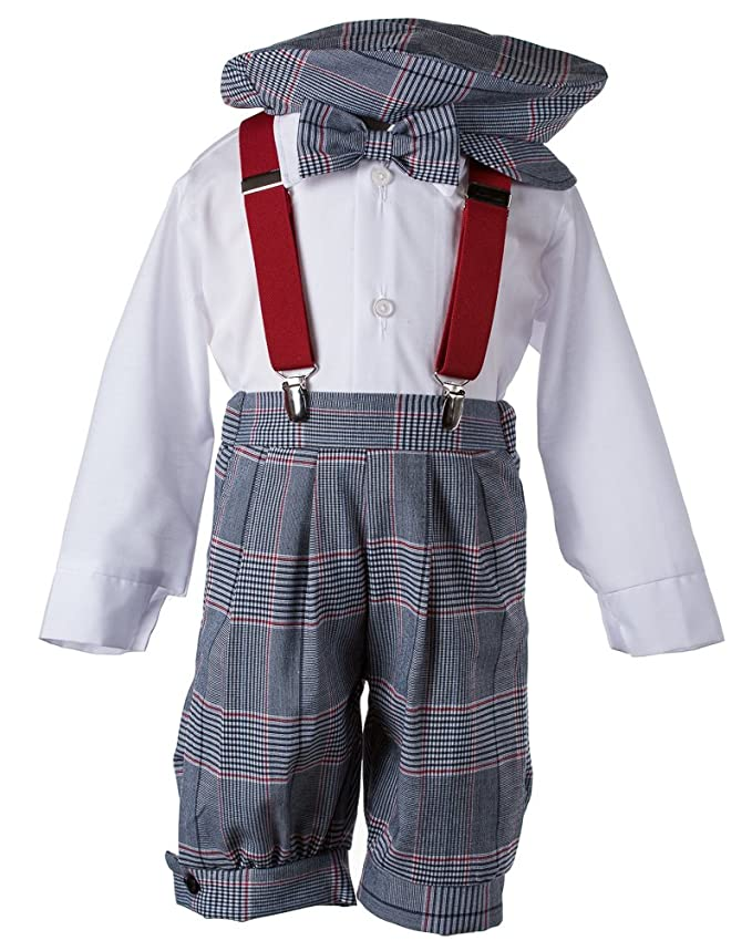 1930s Childrens Fashion: Girls, Boys, Toddler, Baby Costumes Toddlers Knickers Set Vintage Navy Blue Weave with Red Suspender $39.95 AT vintagedancer.com