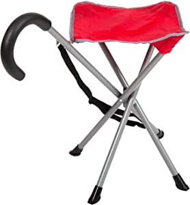 Mac Sports Folding Cane Chair for Women and Men   Walking Stick, Stool-Style, Folding Cane, Cane with Seat, Quad Base, Collapsible, Folding Stools for Adults and Seniors, Travel Friendly   Red