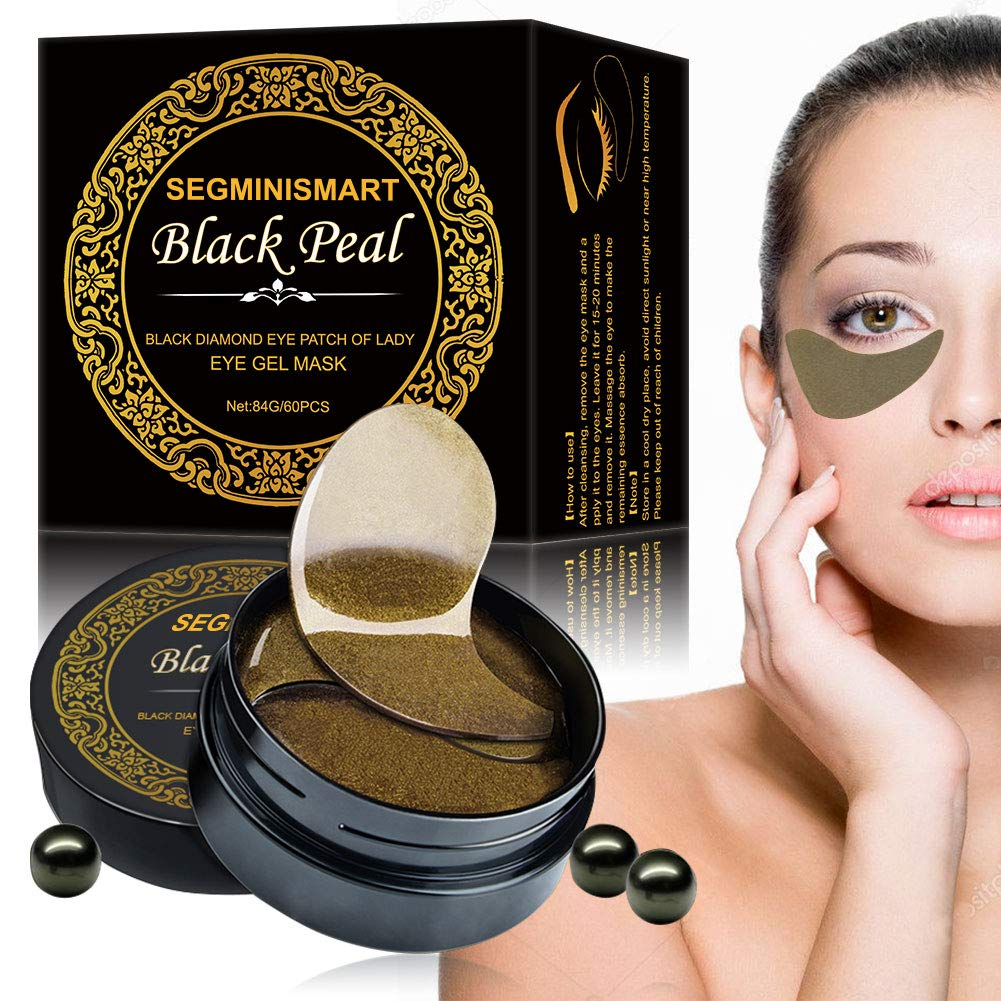 Eye Gel Pads Under Eye Mask Collagen Eye Mask Under Eye Patches Dark Circles Under Eye Treatment 60PCS Black Pearl Eye Patches for Eye Moisturizing, Dark Circles, Natural Firming, Puffiness Wrinkles by SEGMINISMART