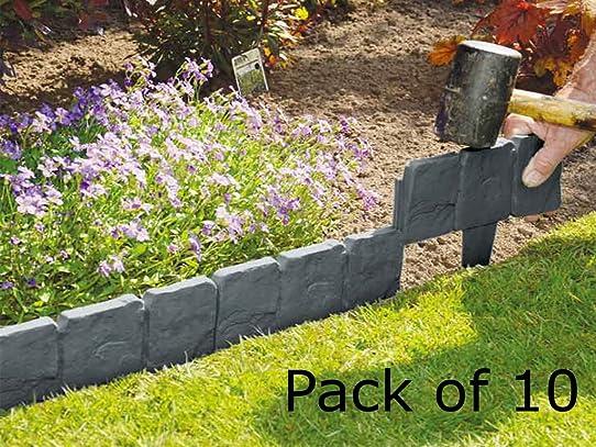 FiNeWaY Lot de 10 blocs en plastique effet pavé à planter pour ...