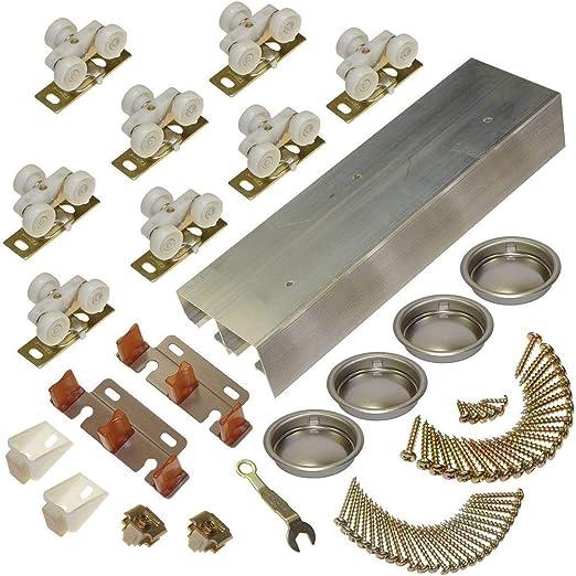2-Door Heavy Duty Bypass Track//Hardware Set for 3 Johnson Hardware 111SD 96 in