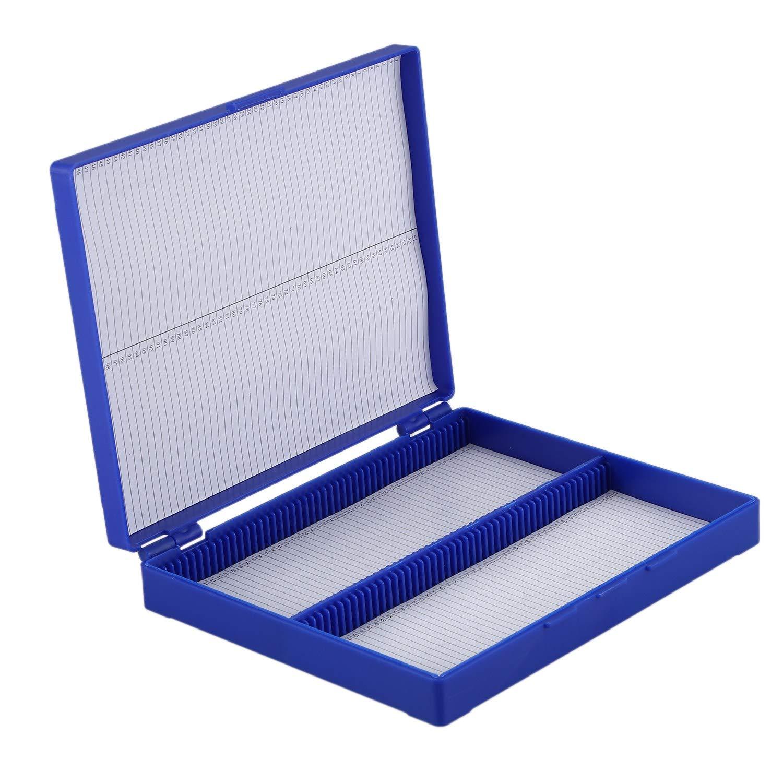 Moligh doll Caja De100 Portaobjetos De Microscopio De Azul Real Caja del Rectangulo De Plastico