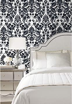 Amazon Com Roommates Black Vine Damask Peel And Stick Wallpaper Home Improvement