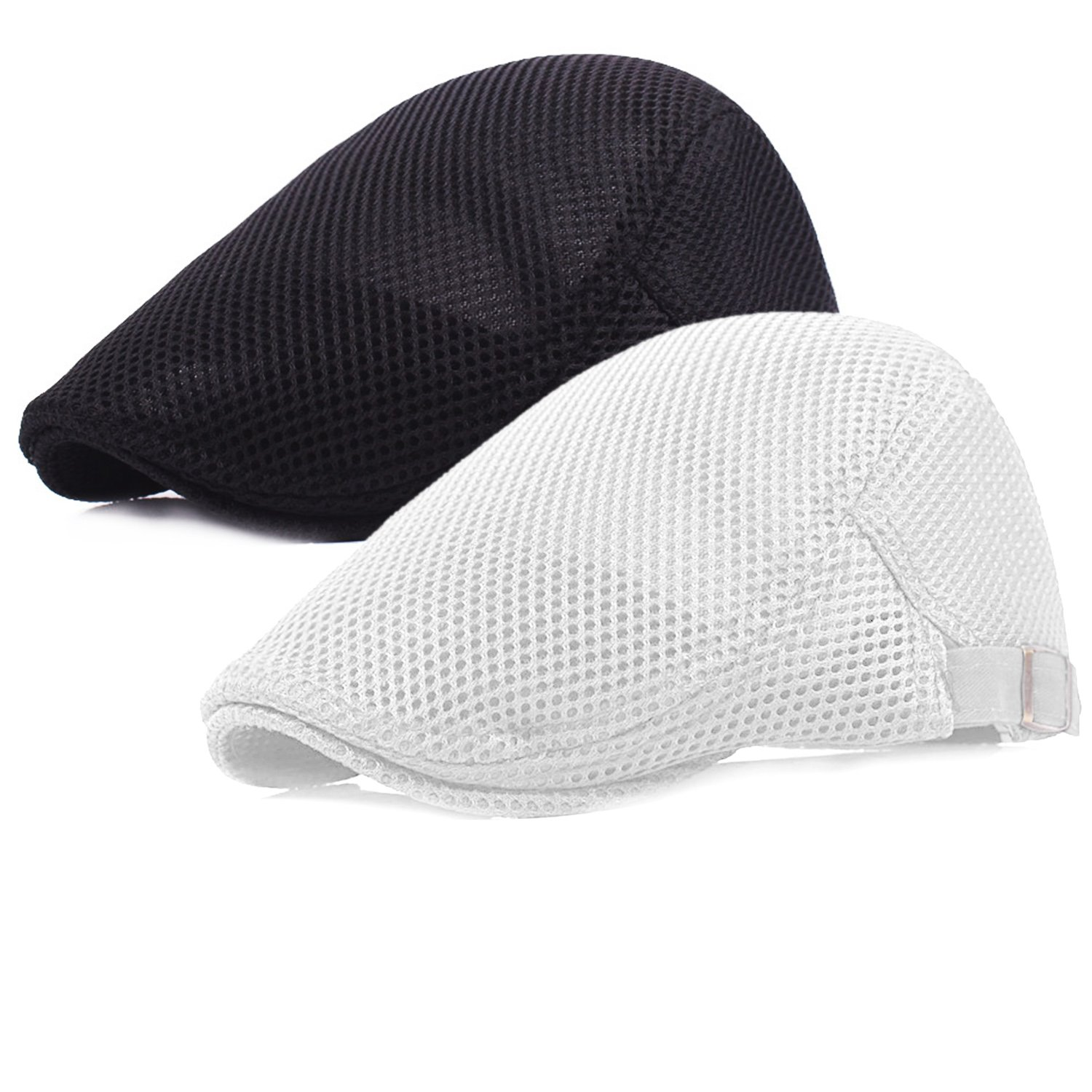 Men Breathable mesh Summer hat Newsboy Beret Ivy Cap Cabbie Flat Cap
