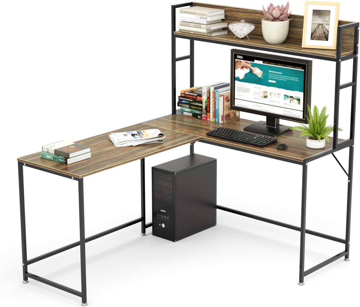 L-Shaped Computer Desk w// Storage Shelves Under Desk PC Workstation Laptop Table