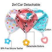 Baby Bandana Drool Bibs 3-Pack and Teething toys 3-Pack Made with 100% Organic Cotton, Super Absorbent and Soft Unisex (Vuminbox ) (Pink) …