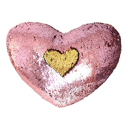 Amazoncom Trlyc Rose Pink And Gold Heart Shaped Mermaid Pillow