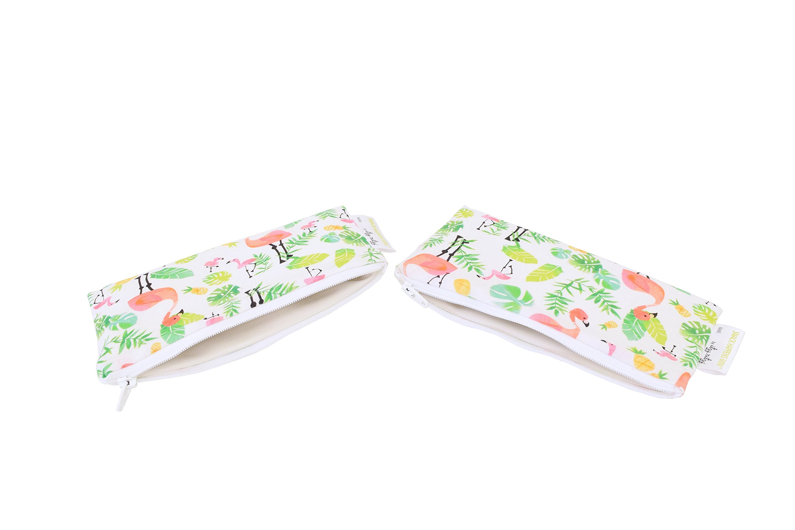 Itzy Ritzy Reusable Mini Snack Bags - 2-Pack of 3.5'' x 7'' BPA-Free Snack Bags are Food Safe & Washable for Storing Snacks, Pacifiers and Makeup in a Diaper Bag, Purse or Travel Bag, Flamingo Flock by Itzy Ritzy