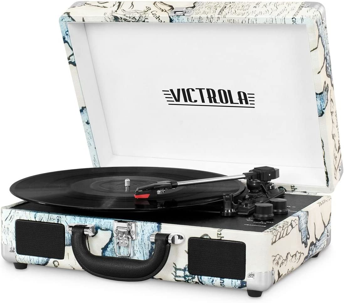 Victrola Vintage 3-Speed Bluetooth Suitcase Turntable with Speakers, Retro Map