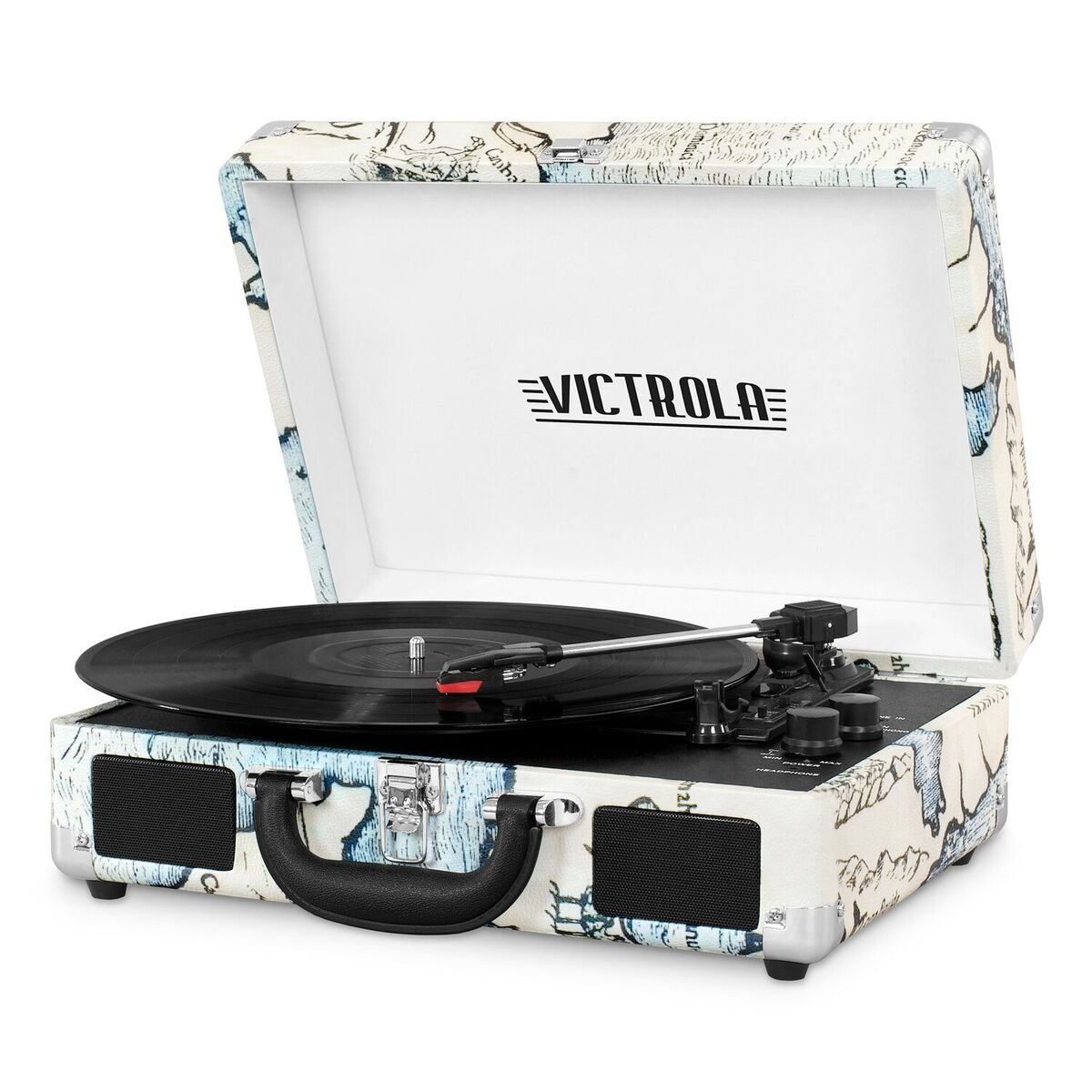 Victrola Vintage 3-Speed Bluetooth Suitcase Turntable with Speakers, Retro Map by Victrola