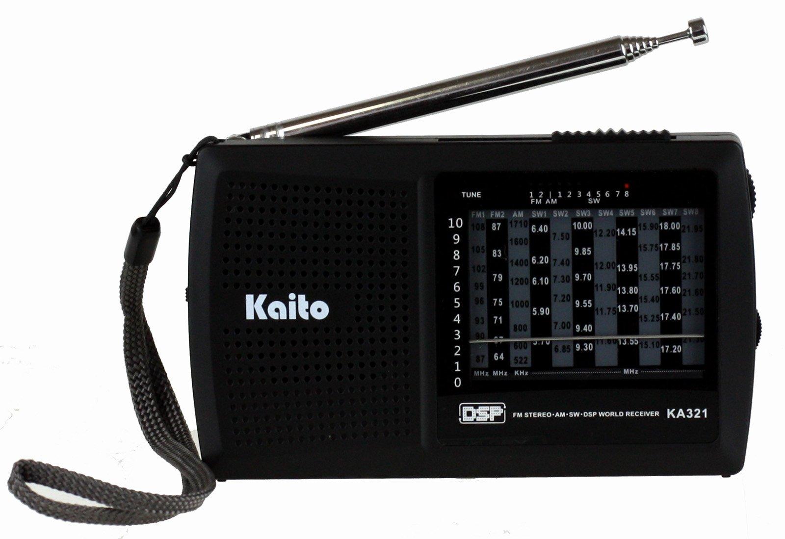 Kaito KA321 Pocket-Size 10-Band AM/FM Shortwave Radio with DSP (Digital Signal Processing), Black