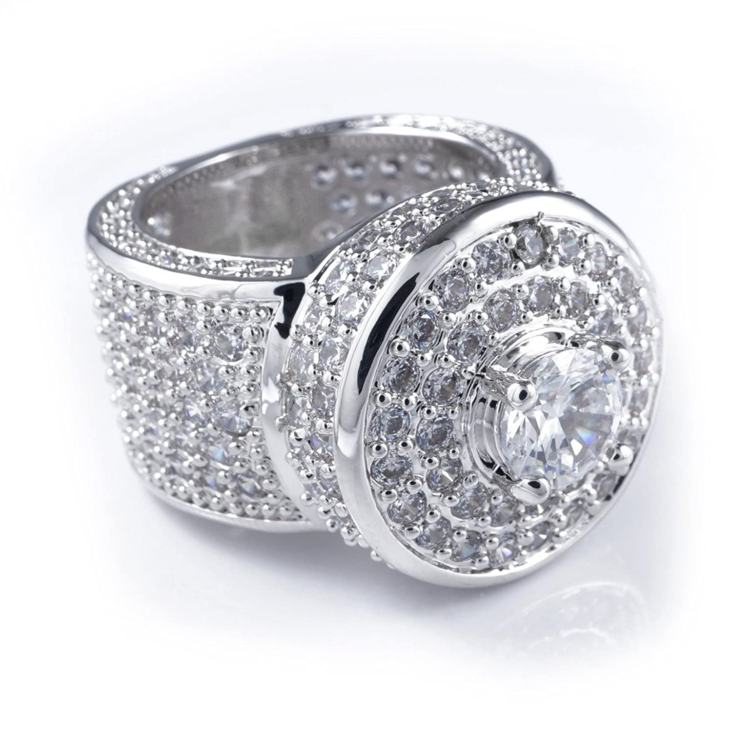 18k White Gold Cluster CZ Iced Out Pinky Ring for Men Hip Hop