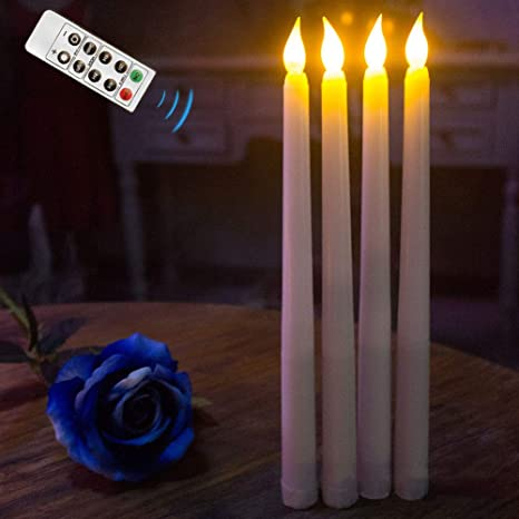 """11"""" LED FLAMELESS FLICKERING WEDDING CANDELABRA PARTY TABLE TAPER CANDLES 2 PACK"""