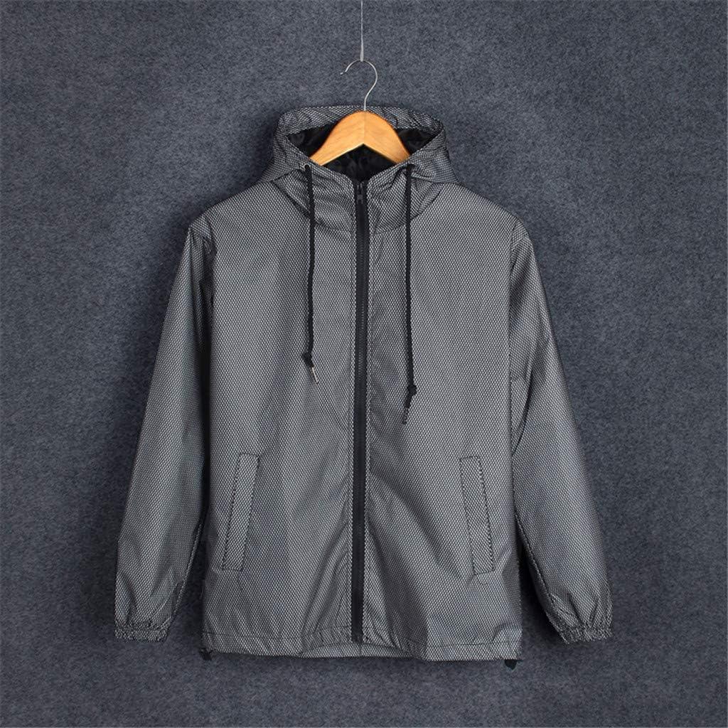 Solid Zipper Drawstring Reflective Coat Harajuku Windbreaker Streetwear Tops Unisex s Long Sleeve Hooded Jacket
