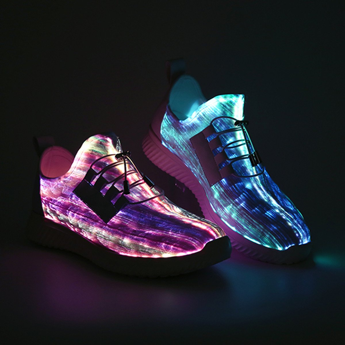 Light up Sneakers for Women USB Charging Fashion LED Flashing Trainer Summer Outdoor Casual Lace up Shoes