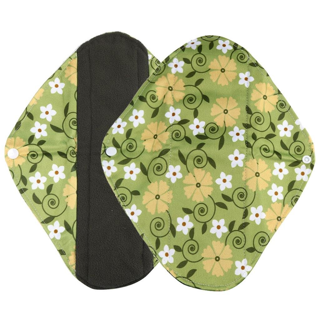 Sikye Cloth Menstrual Pads Reusable Sanitary Pads Overnight Charcoal Bamboo Panty Liners for Comfort and Support- 4 Colors and 3 Size (green 2, m)