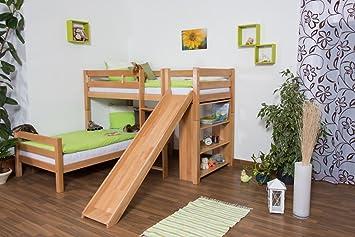 Etagenbett Rutsche Massiv : Kinderbett etagenbett moritz l buche vollholz massiv natur mit regal