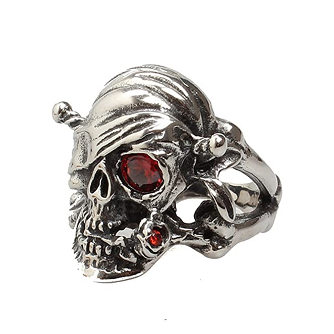 Deluxe Adult Costumes - Men's titanium steel Caribbean skeleton pirate skull ring