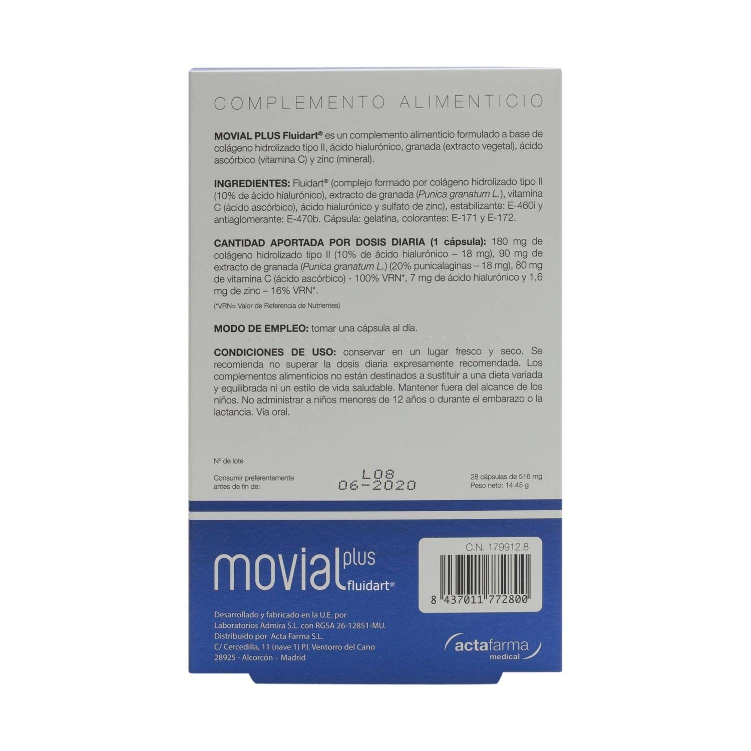 Amazon.com: Movial Plus Nutritional Supplement - Collagen - Vitamin C - Hyaluronic Acid: Health & Personal Care