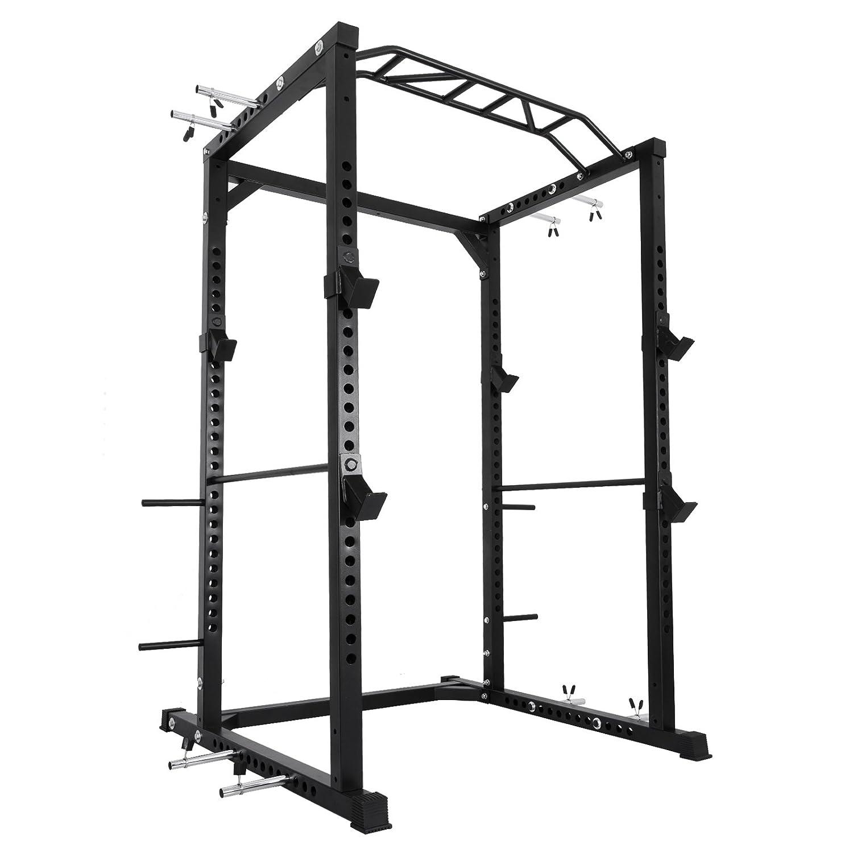 Happybuy multi-grip chin-up Fitness電源Rock電源ラックウエイトリフティング電源ラックオリンピックSquatケージ電源ラックケージシステムwith Adjustableバーforホームジム B077GMBV1P BD-41