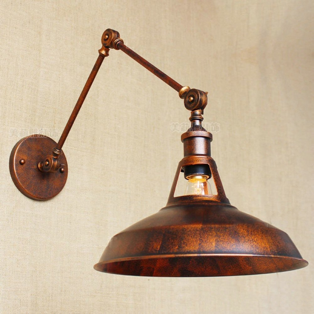 HOMEE Wall lamp- american industrial creative atmosphere rusty upscale decorative retro old old arm double wing loft iron wall lamp --wall lighting decorations