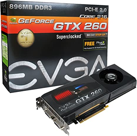 EVGA nVidia GeForce GTX260 Core 216-55nm Superclocked 896 MB DDR3 2DVI PCI-Express Video Card 896-P3-1257-AR