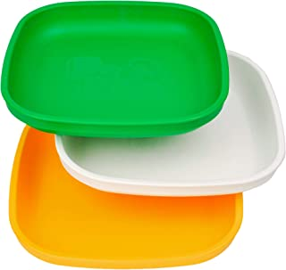 product image for Re-Play Made in USA 3pk Plates with Deep Sides for Easy Baby, Toddler, Child Feeding - Kelly Green, White, Sunny Yellow (St. Patrick's Day)