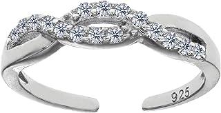 Bague ajustable en argent sterling et zircone pour orteil JewelryAffairs UK_B00YT90LUM