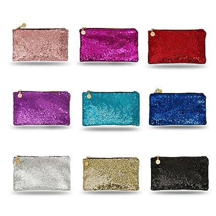 272a850710f17 Lady Donovan - Clutch - Edle Abendtasche für Damen und Mädchen -  Portemonnaie mit Reißverschluß - ideal für die Party oder Hochzeit -  glitzernd - Rose Gold  ...