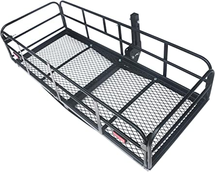 ECOTRIC Foldable Hitch Cargo Carrier Mounted Basket Heavy-Duty Steel Luggage Rack with 2 Receiver Universal