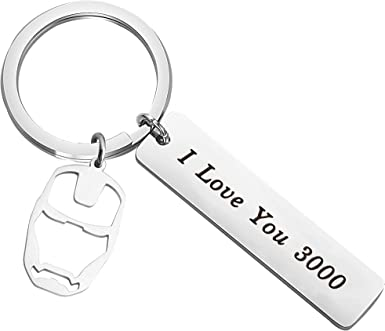 Iron Man//I Love You 3000 Keychain Pendant for Boyfriend Dad Mom Daughter Gift
