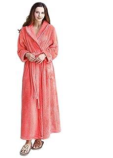 e5d8563b79 Womens Robe Long Fleece Bathrobe Warm Waist Belt Super Soft Spa Plush Full  Length Bath Robe