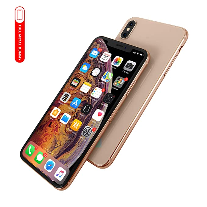 hot sale online f4588 72813 [Full Metal] Dummy Phone Display Model Compatible with Apple iPhone Xs MAX  6.5 inch Non-Working Upgraded Metal Frame (Gold Home Screen)