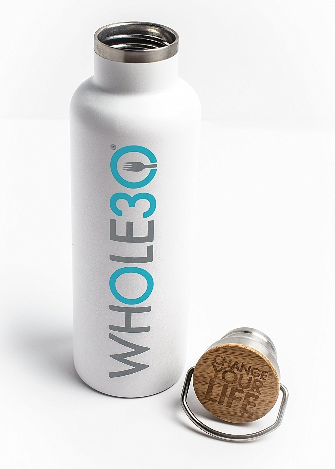 Whole30 Double Wall Insulated Stainless Steel Water Bottle, BPA Free - Eco Friendly (White, 25 oz/1000mL)