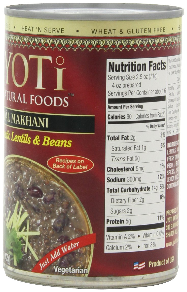 Jyoti Natural Foods Dal Makhani, Aromatic Lentils and Beans, 425 gram Cans,  (Pack of 12) by Jyoti (Image #4)