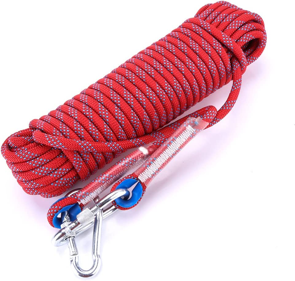Fishing Hunting Camping Asixx Climbing Rope Survival 10mm Heavy Duty Paracord Panchute Corad Lanyard with Carabiner for Outdoor Uses etc 10M 20M Emergency