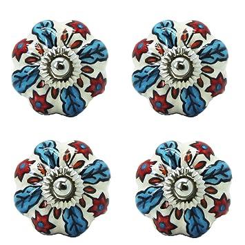 Bada Bing 4er Set Möbelknöpfe Blume Rot Blau Möbel Knauf Muster Modern  Landhaus Schubladenknopf